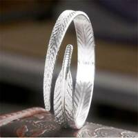 Women 925 Silver Plated Vintage Charm Open Cuff Bangle Bracelet Jewelry Gift