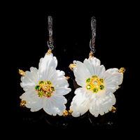 Fine art Jewelry Set Natural Shell 925 Sterling Silver Earrings /E37800