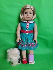 American Girl Doll Kit Short Blonde Hair Blue Eyes Beforever Meet Outfit and dog