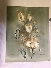 """Original Painting By Listed Artist John R Fell Titled """"Poppy""""dated 1960 MOD!"""