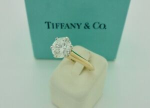 Authentic Tiffany & Co. 1.68ct Solitaire Diamond Gold Engagement Ring w/ Papers*
