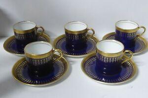 SET OF 5 DEMI TASSE COFFEE CUPS & SAUCERS AYNSLEY PORCELAIN COBALT BLUE GILT
