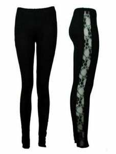 New Womens Lace Leggings Side Panel Sexy Lacey Through Leggings
