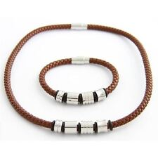 SET BRACELET AND NECKLACE WOMAN OR MAN BROWN LEATHER AND STAINLESS STEEL 049