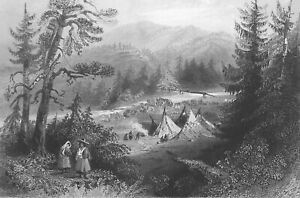 CANADA Scenery near Annapolis on Bear River - 1842 Engraving Print by BARTLETT