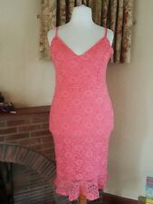 BRIGHT CORAL LACE STRAPPY BODYCON FITTED DRESS NEXT SIZE 14 16 18  SUMMER