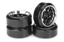 Absima Mesh Wheels with Profile C Drift Tyres Black/Chrome 4pcs 2510042