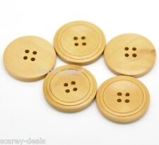 Natural 30mm Wooden buttons 4 Holes Round Sew WOOD buttons 30mm 1ST CLASS POST