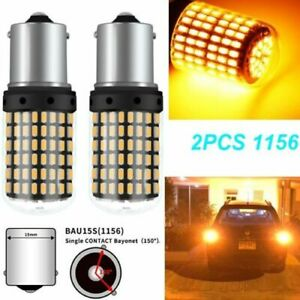 2pc 1156 BAU15S 144SMD PY21W Canbus Amber Yellow Car LED Turn Signal Lights Part