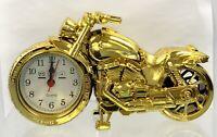 Bedside Motorcycle Alarm Clock Goldtone Donation Shriners Hospital