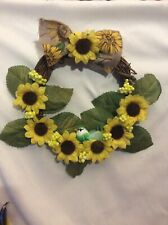 Sunflower wreath summer spring birds yellow green new handmade
