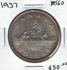 Canada 1937 Silver $1 Dollar MS60