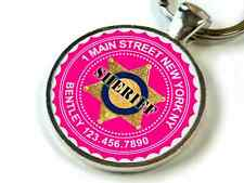Sheriff protective pet Hot Pink Custom cute 11 colors pet dog cat tag id