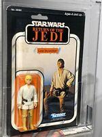 AFA 85 Kenner 1983 Star Wars ROTJ Luke Skywalker Farmboy 65-Back-B Clear NM+