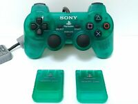 Sony Crystal Green Playstation Controller & Memory Cards *Excellent Condition*
