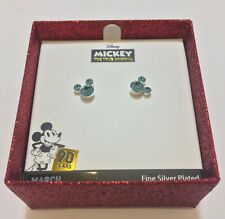 Disney Mickey Mouse 90th Anniversary Aquamarine Stud Earring.