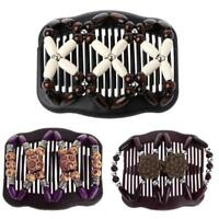 Magic Wood Beads Double Hair Comb Clip Stretchy Women Hair Accessories HOT