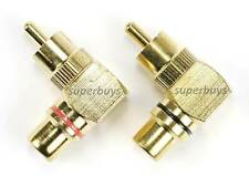 2pc Brass Right Angle 90 Degree RCA Plug Male To Female Adaptor Connecting Plug