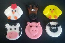 100% Edible Handmade Farm yard animals cupcake toppers - set of 6