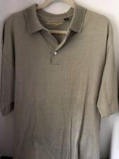 BEN HOGAN Men's Short Sleeve Golf Shirt Tan with White Stripes EUC Size L