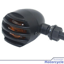 Motorcycle Accessories - 4x Metal Bullet Black Amber Bulb Motorcycle Turn Signal