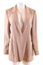 MAX MARA Womens 1 Button Blazer Jacket UK 16 Large Beige Viscose  JV19