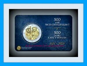COINCARD 2 EURO BELGIQUE 2021 500 ANS DE PIÈCES CAROLUS V FR PREVENTE