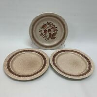 Homespun Stonecast by Churchill Dinner Plates Cottage Wild Strawberry Lot of 3