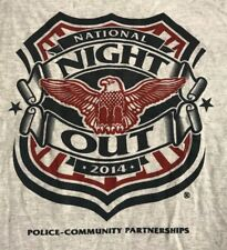 NATIONAL~NIGHT-OUT~POLICE-COMMUNITY PARTNERSHIP T-SHIRT ADULT M medium GRAY S/S