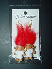"Troll Doll 1"" Russ Good Luck Christmas  Angel Red Pierced Earrings"