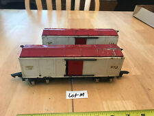 American Flyer Train O Tinplate TWO (2) Red & White 478 Box Cars w/Link  Lot M