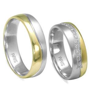 2 Gold Eheringe Trauringe Partnerringe aus14 kt Gelb/Weißgold mit Diamanten
