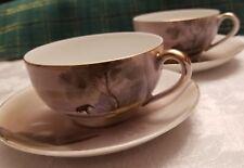 Beautiful Noritake Morimura Hand Painted Cups & Saucers ~ Water Tree House Scene