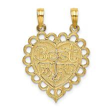 Polished BEST FRIEND 2 Piece Break Apart Heart Charm In Real 14k Yellow Gold