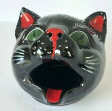 New listing Redware Cat Head Open Mouth Red Green Accents Vintage Ceramic Vintage Ashtray