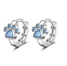 925 Sterling Silver Girl's Kid's Paw Print Blue Gemstone Huggie Hoop Earrings