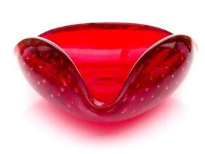 Murano Glass Vintage 20th Century Art Glass Tri Corner Bubble Multi Purpose Bowl