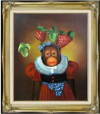 Framed, Dressed Monkey with Grapes on Head. Hand Painted Oil Painting 20x24in