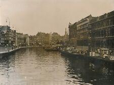 AMSTERDAM c. 1940 - Le Port animé Bateaux Commerces Hollande - NV 2324
