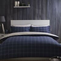 100% Brushed Cotton Check Duvet Cover Set Navy Blue & Cream Single Bed Size