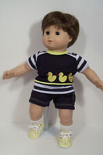 2pc YELLOW NAVY Duck Shirt w/Shorts Doll Clothes For Bitty Baby Boy Twin (Debs)