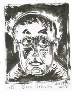 2016 Original linocut Boris Johnson German Expressionist influences
