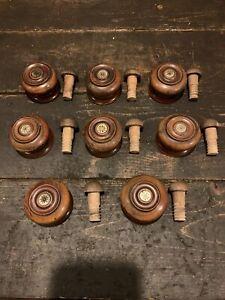 8 Vintage Hardwood Knob Drawer Pulls Reclaimed Original