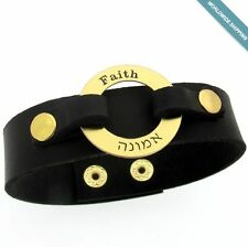 Personalized Leather Cuff Bracelet for Men. Custom Engraved Wristband. Mens Cuff