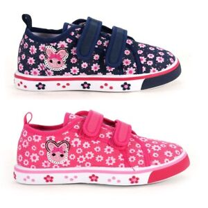 KIDS BABY Girls canvas shoes trainers sneakers 8-12 UK Leather insole PUMPS GIRL