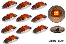 10x 12v LED amber orange side chrome marker lights lamp for trailer truck lorry