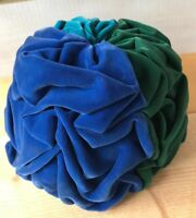 Vtg Evelyn Varon Exclusive Hat Velour Tri-color Turquoise Green Blue Union Made