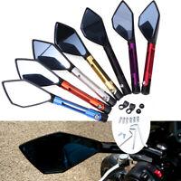Pair Universal Motorcycle Rearview Side Mirrors For Kawasaki Honda Suzuki Yamaha