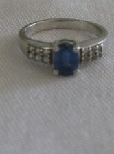 size 6 KYANITE & White TOPAZ STERLING Silver RING QVC #c11 w/COA 1.27cts oval