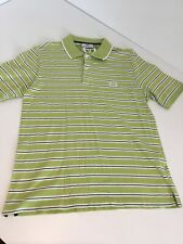 Mens Vintage Retro Sergio Tacchini Polo Shirt Top Short Sleeve Lime Stripe Large
